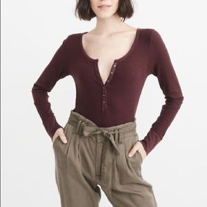 Abercrombie & Fitch Tops - Abercrombie & Fitch Burgundy Henley Top